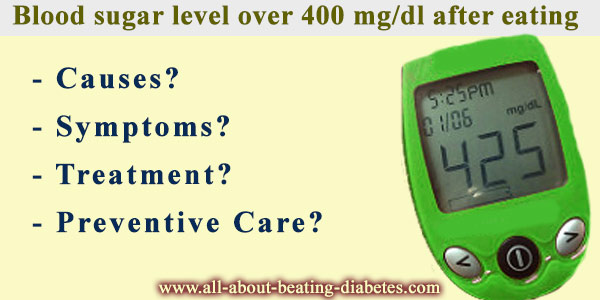 Blood sugar level over 400 mg/dl after eating