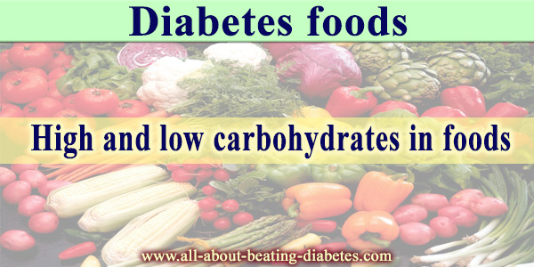 Diabetes foods: High and low carbohydrates in foods