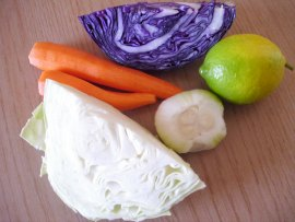 cut  red cabbage carrots